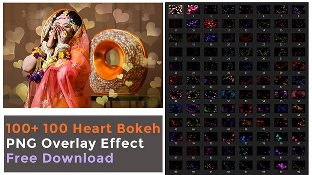 100 Romantic heart bokeh overlay free download